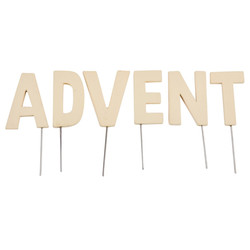 Deko-Stecker -Advent- Holz 5-9cm creme