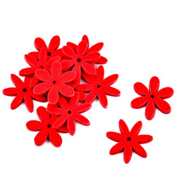 Flower Set-12 Deco wood 1,5x1,5x1cm red