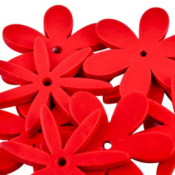 Flower Set-10 Deco wood 2x2x1cm red