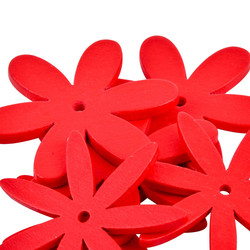 Flower Set-8 Deco wood 4x4x1cm red