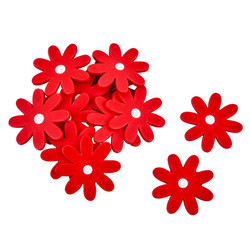 Flower Set-12 Deco wood 3x3x1cm red
