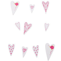 Hearts bag x10 ass. Wood white-red 1,5-3cm
