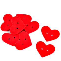 Heart Set-10 Deco wood 3x4x1cm red