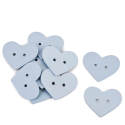 Heart Set-10 Deco wood 3x4x1cm light blue