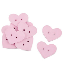 Heart Set-10 Deco wood 3x4x1cm light pink