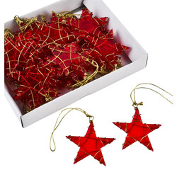 Stars Xmas-Design Set-36 Deco-Hanger plastic 6x6cm red