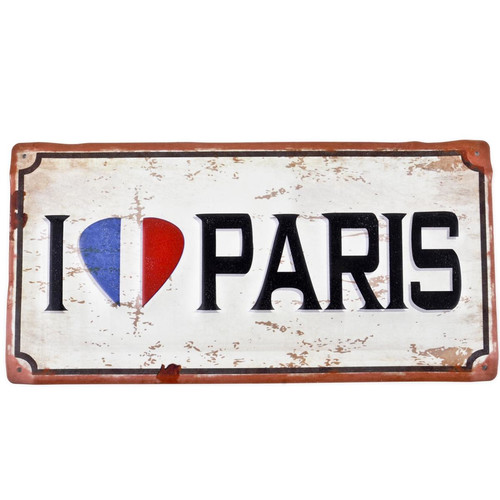 Blechschild -I love Paris- 15x30cm bunt