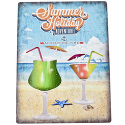 Blechschild Summer Holiday Maritim Design Metall 40x30cm...