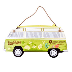 Holzschild -Hippie Beach Bully- Design 26x51x1cm bunt