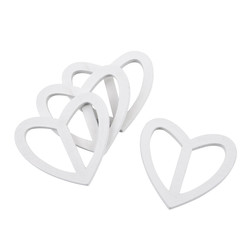 Buckle Heart Deco Set-4 wood 7x6cm white