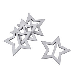 Buckle Star Design Deco Set-3 wood 7x7cm silver