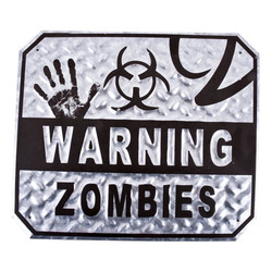 Mural -Warning Zombies- Design metal 30x35cm silver