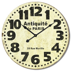 Wanduhr -Paris Antique- Design Holz 60x60cm creme-schwarz