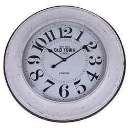 Wanduhr -Old Town- Design Metall-Glas weiss 80x80x8cm