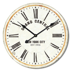 Wanduhr -Grand Central- Design Holz 60x60cm creme