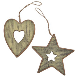 Stars Hearts Deco Hanger Set-12 wood 10x10cm green washed