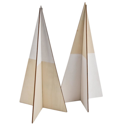 Christmastree Set-2 Modern Xmas Design wood 30x15x15cm white natural