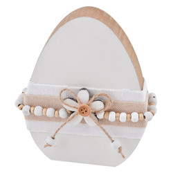 Egg Cosy Design Deco Object wood 12x9x2cm white natural