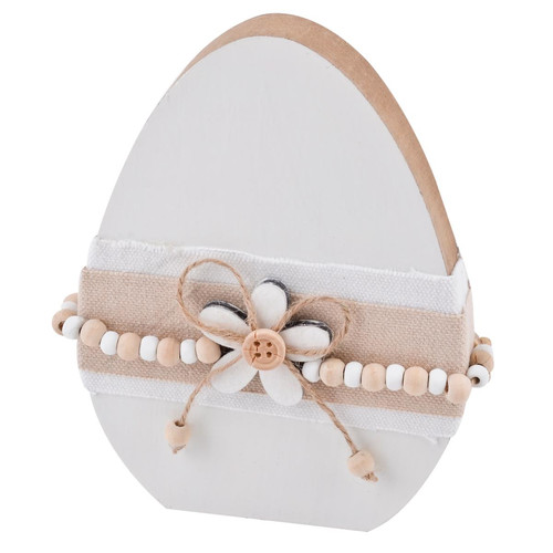 Egg Cosy Design Deco Object wood 15x11x2cm white natural