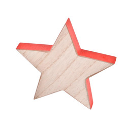 Stars Set-6 Deco-Object wood 12x12x2cm natural-red