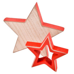 Stars Set-2 Deco Object wood 8-12cm natural red