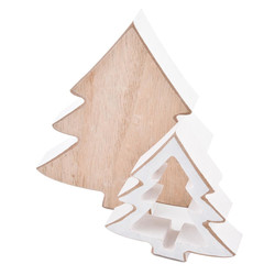Tree Set-2 Deco Object wood 8-12cm natural white