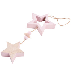 Stars Deco Hanger wood 30x9x2cm natural rouge