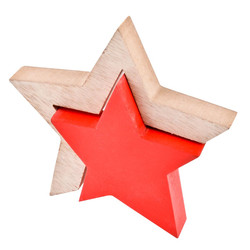 Stars 2 Deco Object wood 13x13x2cm natural red