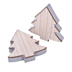Tree Set-6 Deco-Object wood 12x11x2cm natural-silver