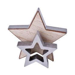 Stars Set-2 Deco-Object wood 8-12cm natural-silver
