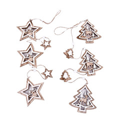 Garland Set-2 Star-Tree wood 80cm natural-white