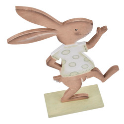 Rabbit Funny Nostalgic Design wood 26x17x5cm brown green