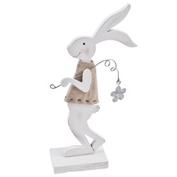 Rabbit Flower Nostalgic Design Deco Figure wood 19x9x4cm...