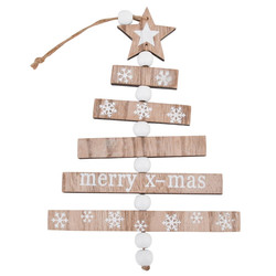 Tree Xmas Design Deco Hanger wood 24x15x1cm natural white