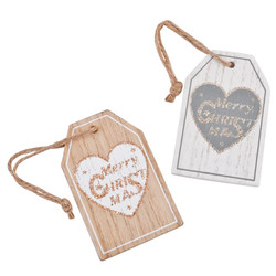 Cardhanger Set-2 Xmas Heart Design wood 10x4cm natural-white