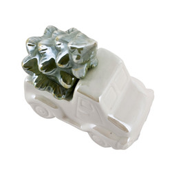 Car Xmas Deco-Object porcelain 10x10x6cm cream-green