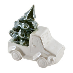 Car Xmas Deco-Object porcelain 16x16x9cm cream-green