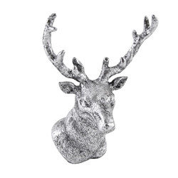 Deer-Head Deco-Object polyresin 15x12x10cm silver-antique