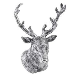 Deer-Head Deco-Object polyresin 22x15x14cm silver-antique