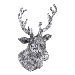 Deer-Head Deco-Object polyresin 27x19x18cm silver-antique