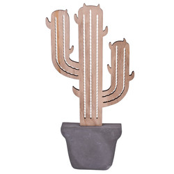Cactus Deco-Object stone-wood 38x17x3cm grey-natural