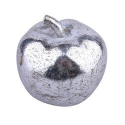 Apple polyresin silver 9x9x9cm