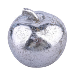Apple polyresin silver 12x11x11cm