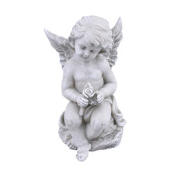 Angel Classica Deco-Figure polyresin 16x10x9cm grey