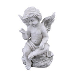 Angel Classica Deco-Figure polyresin 16x10x8cm grey