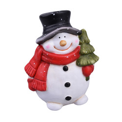 Snowman Xmas Deco-Figure ceramic 13x10x7cm white-red