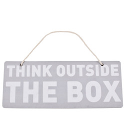 Schild Think outside the box Design Anhänger 10x25cm bunt