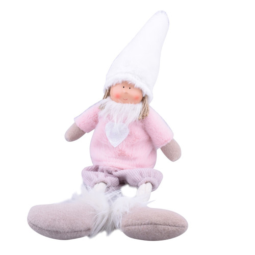 Gnome Tiny Deco-Figure fabric-fur 44x14x7cm pink-white
