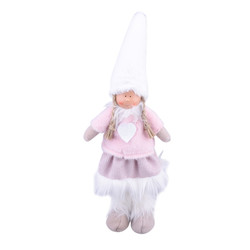 Gnome Tiny Deco-Figure fabric-fur 40x14x7cm pink-white