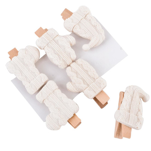 Klammern -Winter- 6er-Set Holz-Resin 5x3cm weiss